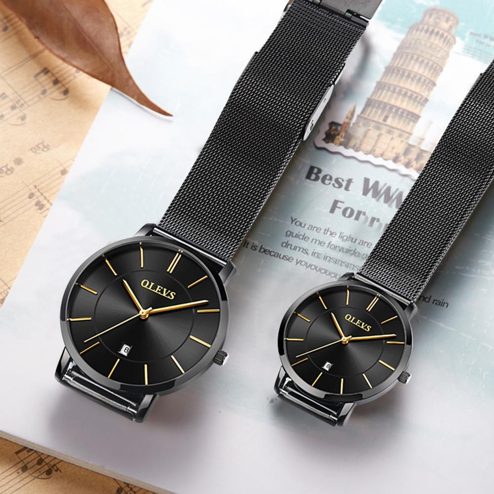 Mesh Steel Couple Watches Pair Men And Women Top Brand Luxury Lovers Watches Quartz Waterproof Reloj Pareja Ultra Thin