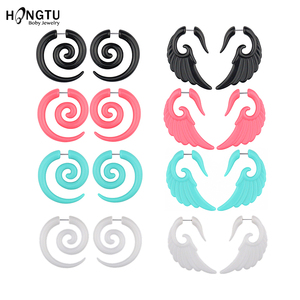 HONGTU 2Pcs Acrylic Fake Spiral Wing Ear Taper Stretcher Expanders Gauge Earlobe Earring Cheater Piercing Body Jewelry 16G(China)