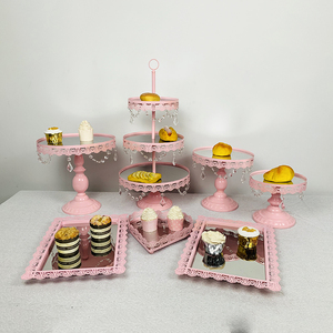 Image 4 - 3pcs 10pcs Pink cupcake mirror tray Decoration With Crystal Cupcake Rack Cake Stand Holder