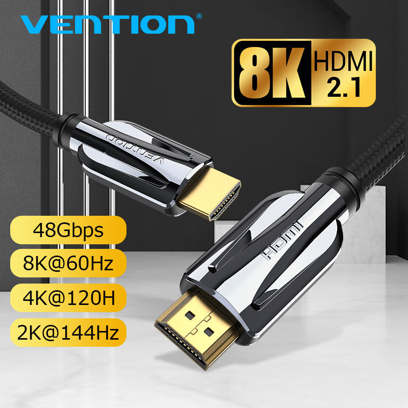 Vention HDMI 2.1 Cable 8k 60Hz 4K 120Hz 3D High Speed 48Gbps HDMI Cable for PS4 Splitter Switch Box Extender Video 8K HDMI Cable|HDMI Cables|   - AliExpress
