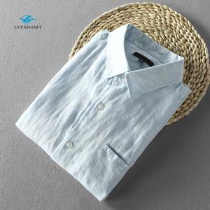 Image 3 - 男性春と秋のファッションブランド日本スタイル無地ブルーリネン長袖シャツ男性カジュアル薄型ポケットシャツ