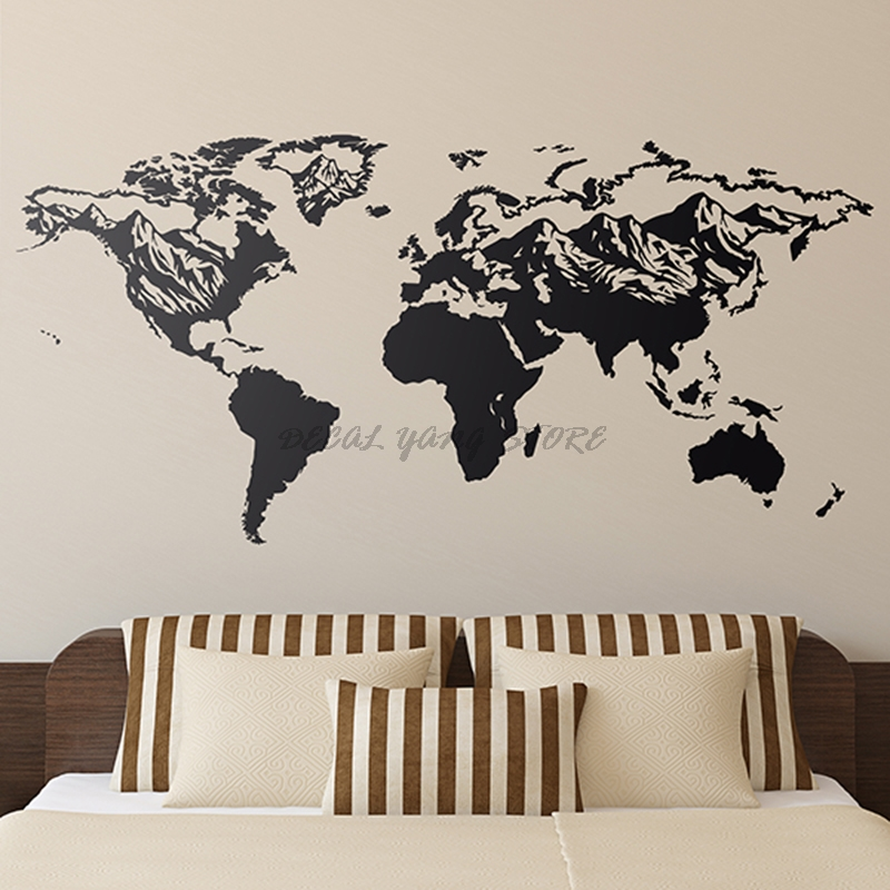 Big Size Wall Sticker World Map Home Decor Living Room Bedroom Vinyl Art Decals Atlas Removable Mural Wallpaper House B2-023 image