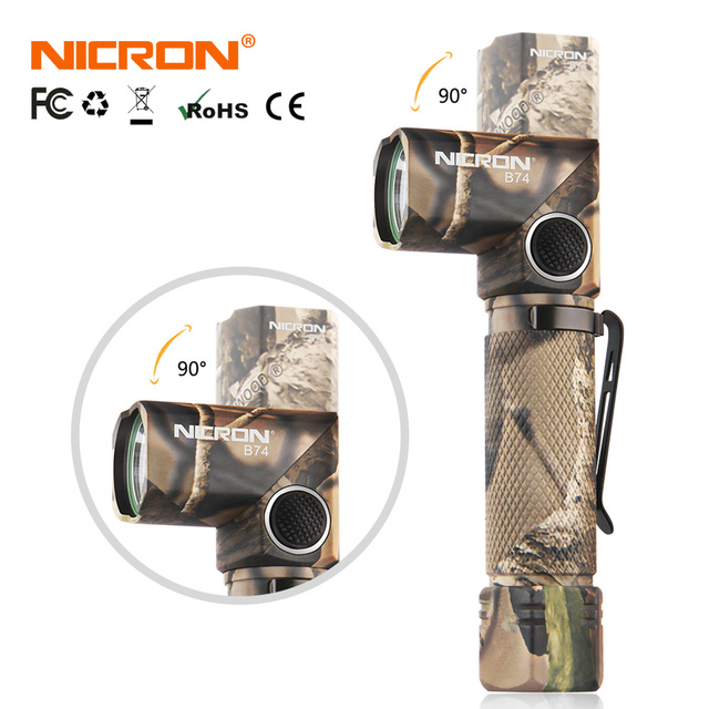 NICRON 3-Color Light 90 Degree Camo Rechargeable Twist Flashlight With 360 Rotary Clip 18650 Waterproof 1200LM LED Torch B70Plus 2