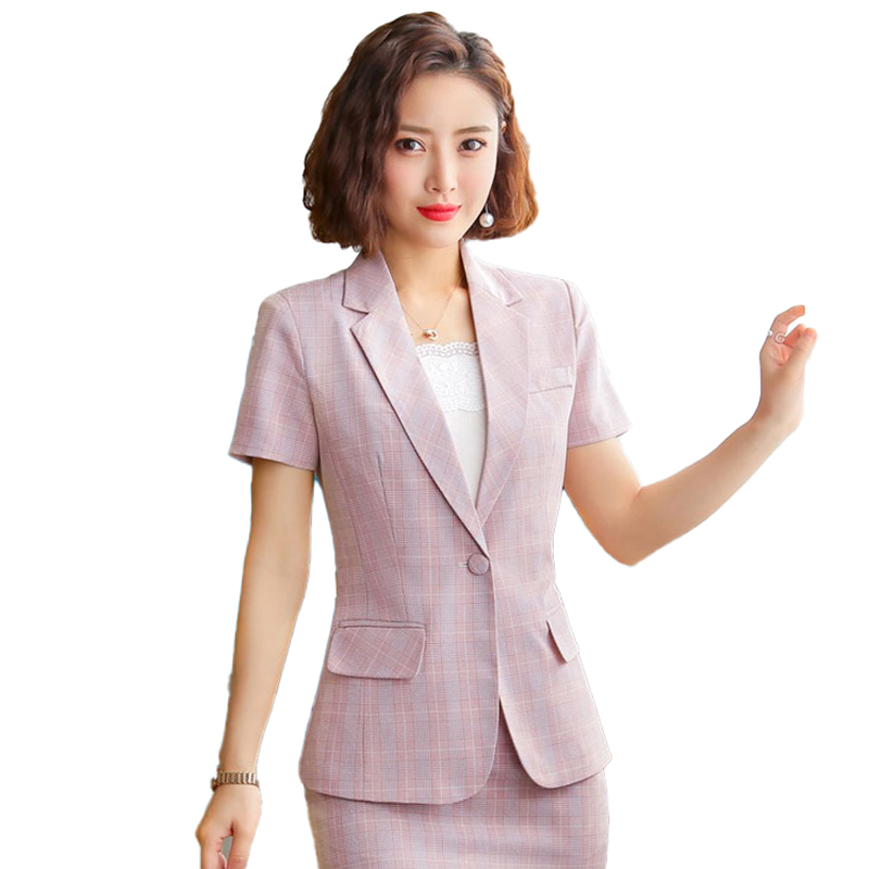 2020 Ladies Pink Blazer Women Jackets Short Sleeve Female Elegant Formal Office Work Wear Clothes OL Style Blazers and Jackets