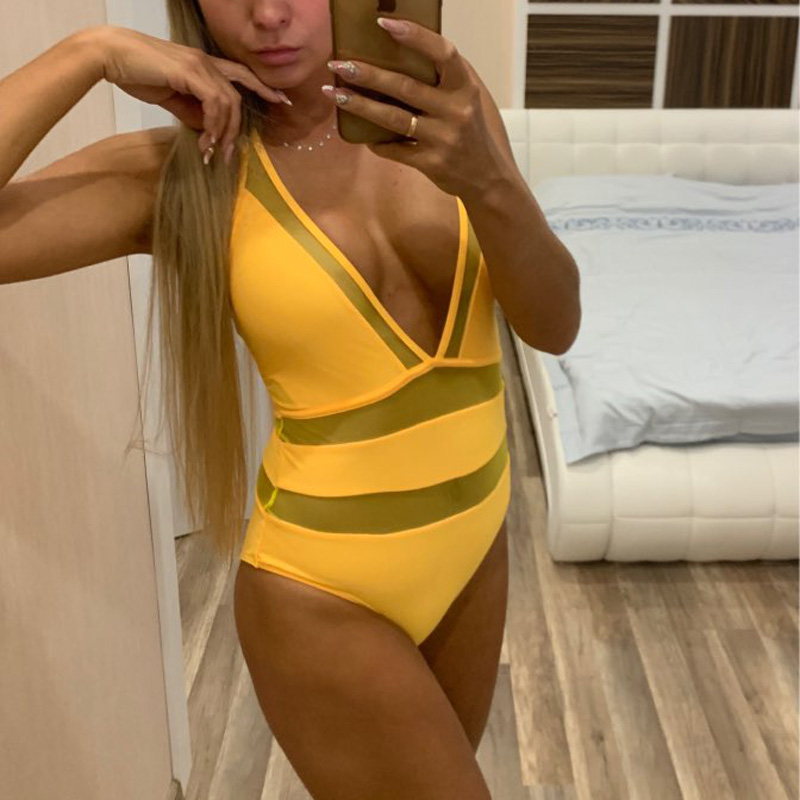 Riseado New 2019 Swimwear Women Sexy Plunging One Piece Swimsuit Solid Mesh Halter Swimsuits Women Beachwear Bathing Suits