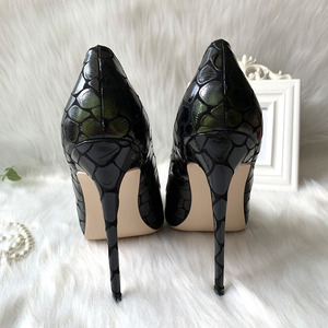 Image 2 - 2019 new style Factory wholesale black petal pointed toe perform walking show women lady hot sale 120mm block high heel autumn
