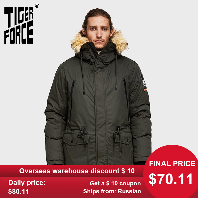 TIGER FORCE Men Parka Hooded Winter Jacket For Men Artificial Fur Collar Warm Coat Adjustable Waist Thicken Coats Men Snowjacket