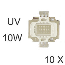 10pcs 10W Chips de LED UV 390-395nm Ultravioleta Aquário Ultra DIY Roxo Violeta Full power 10W COB(China)