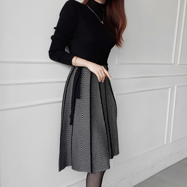 HAYBLST Brand Woman Dress Sweater Dresses For Women 2020 New Winter Clothes Korean Style Long Sleeve Patchwork Knitting Clothing 2