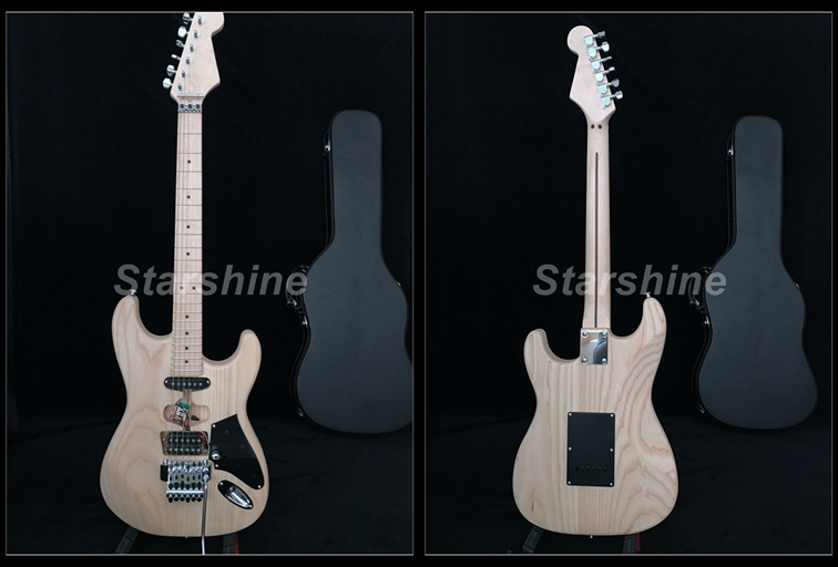 Unfinished Franken Electric Guitar Y-ZX6 FR Bridge Black Hardcase Ash Body Small Pickguard Standard Size Guitar Kits