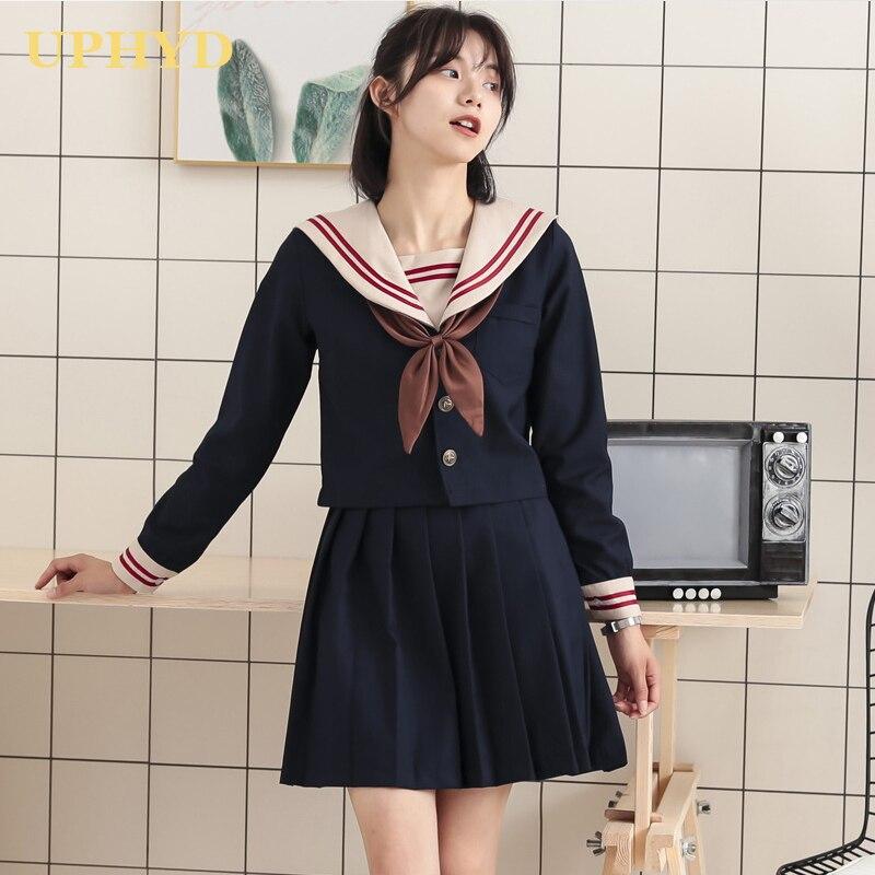 New Red Two Lines Navy Blue School Uniform College Style Jk Uniforms Basic Spring Summer School Girls Student Uniform