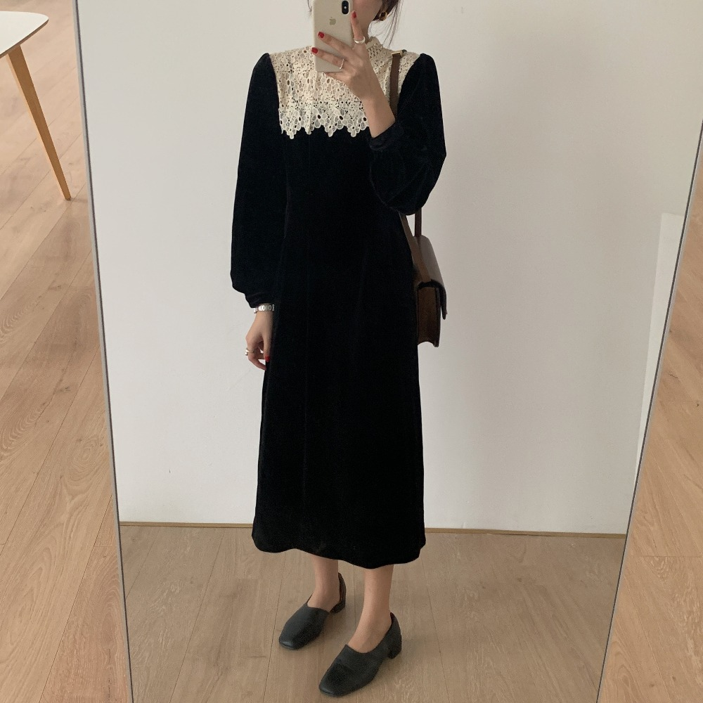 H5f401e522c224132a93b9f9ff02e4686Z - Autumn / Winter Korean O-Neck Long Sleeves Lace Patchwork Midi Dress