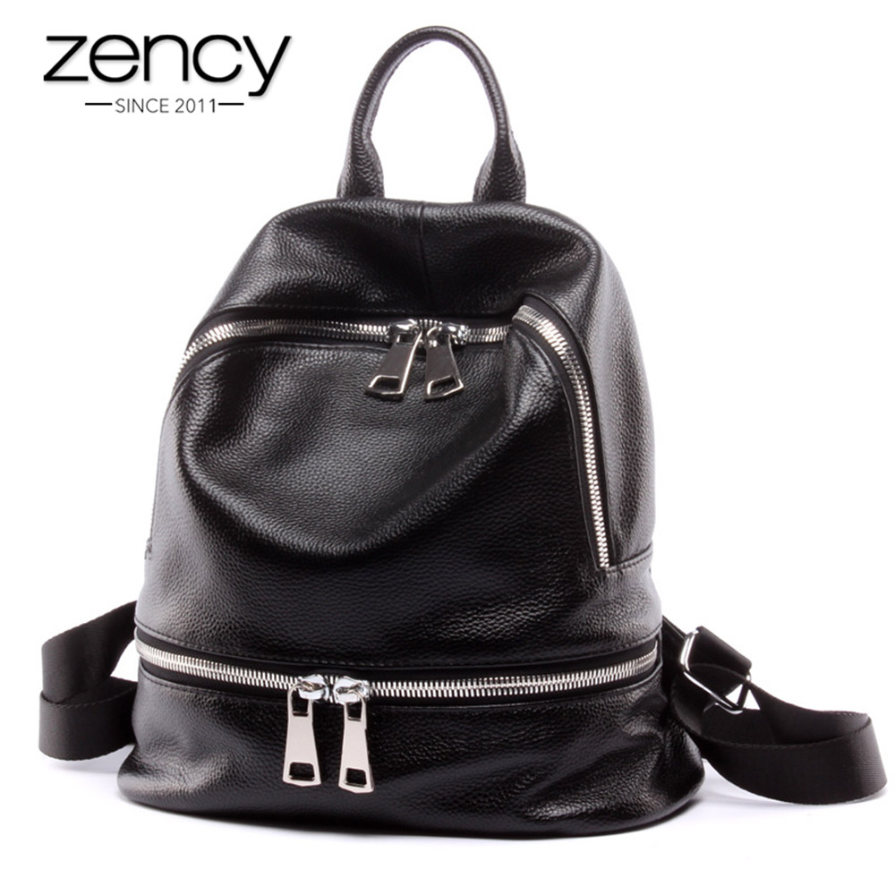 Zency Fashion 100% Genuine Leather Women's Backpacks Notebook Schoolbag For Teenage Girls Female Travel Bag Lady Knapsack Black