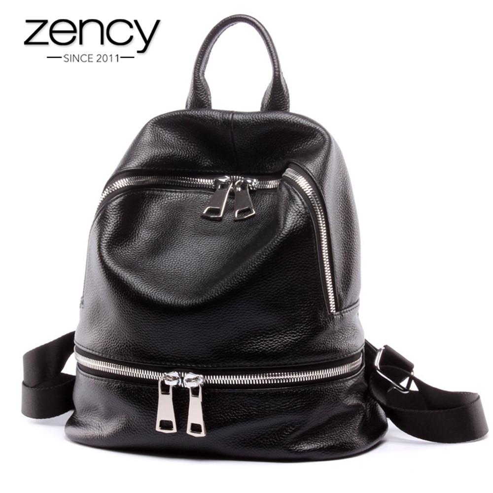Zency Fashion 100% Genuine Leather Women's Backpacks Notebook Schoolbag For Teenage Girls Female Travel Bag Lady Knapsack Black