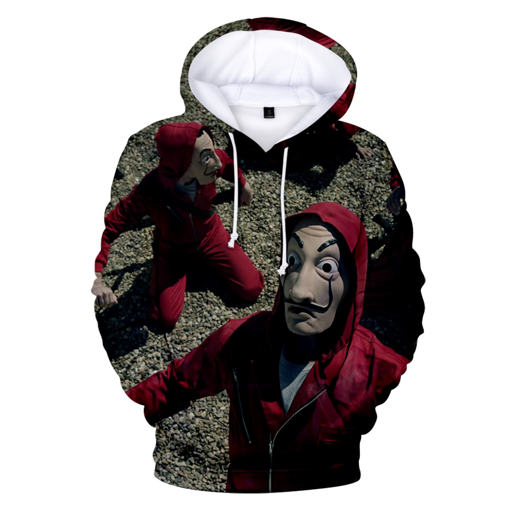 2020 New La Casa De Papel 3D Hoodie Men/Women Fashion Casual Sweatshirt Money Heist Pullover Handsome Hooded Streetwear Coats