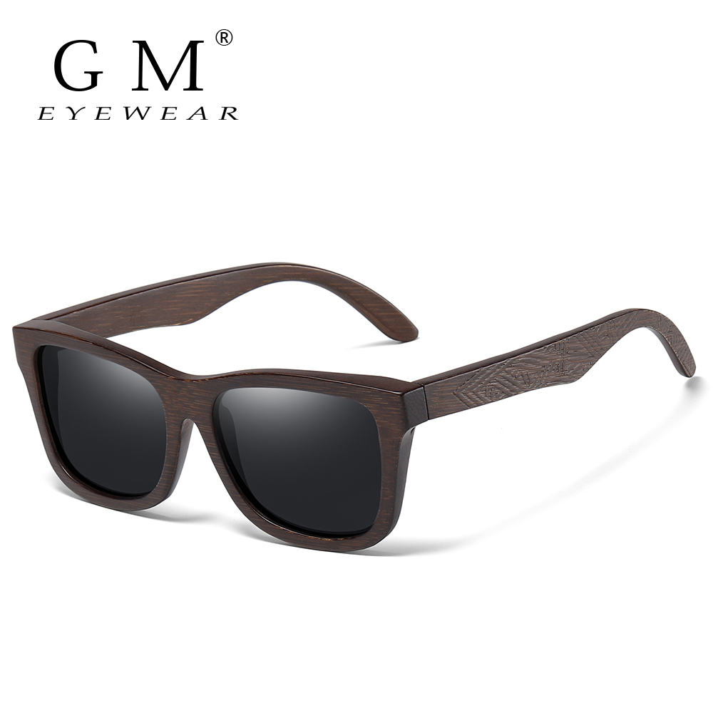 GM Retro Fashion Bamboo Wood Polarized Sunglasses Driving Square Style Sun Glasses Male Goggle UV400 Women Men Brand Designer