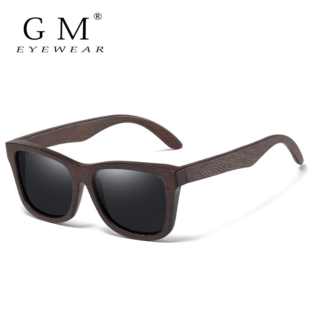 GM Retro Fashion Bamboo Wood Polarized Sunglasses Driving Square Style Sun Glasses Male Goggle UV400 Women Men Brand Designer
