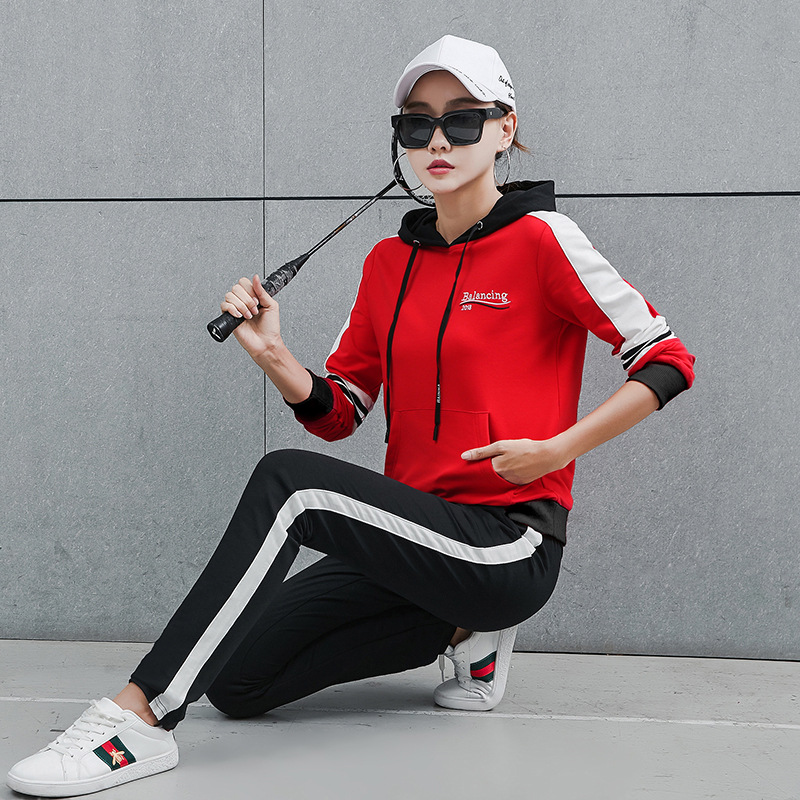 Sports WOMEN'S Suit Spring And Autumn 2019 New Style Korean-style-Style Fashion Hoodie Large Size Loose Casual Sports Clothing T