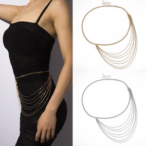 Chain Belts Vintage Waistbands Long Personality Fashion Women Lady Gold for Dress Tassel