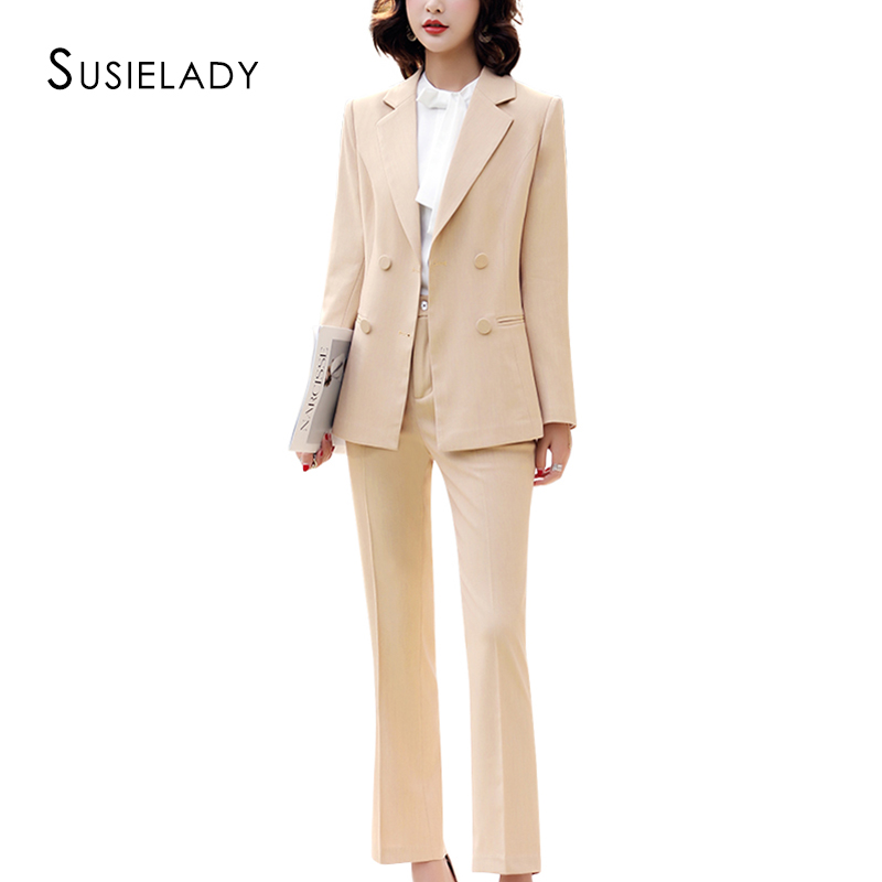 SUSIELADY Women Work Pantsuits Solid Double-Breasted Office Wear Trousers Suit For Women Set