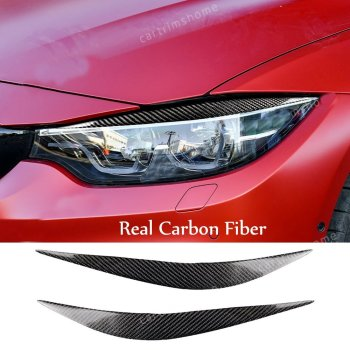 2*Carbon Fiber Headlight Eyelid eyebrow Cover For BMW 2014-18 F80 M3 F82 F83 M4 image