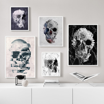Anatomy Skull And Flowers Crazy Rock Wall Art Canvas Painting Nordic Posters And Prints Wall Pictures For Living Room Bar Decor human organs anatomy chart posters and prints canvas art decorative wall pictures for living room home decor unframed painting