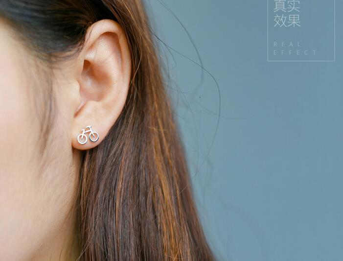 Girls Bike delicate Ear Studs 925 Sterling Silver