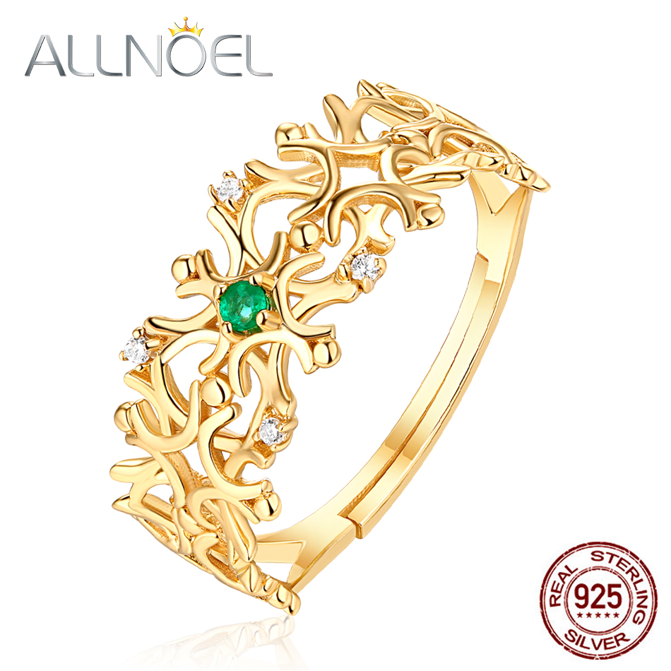 ALLNOEL Real 925 Sterling Silver Rings For Women 1.5 Mm Natural Emerald Gemstone Snowflake Ring Wedding Jewelry For Women Gifts