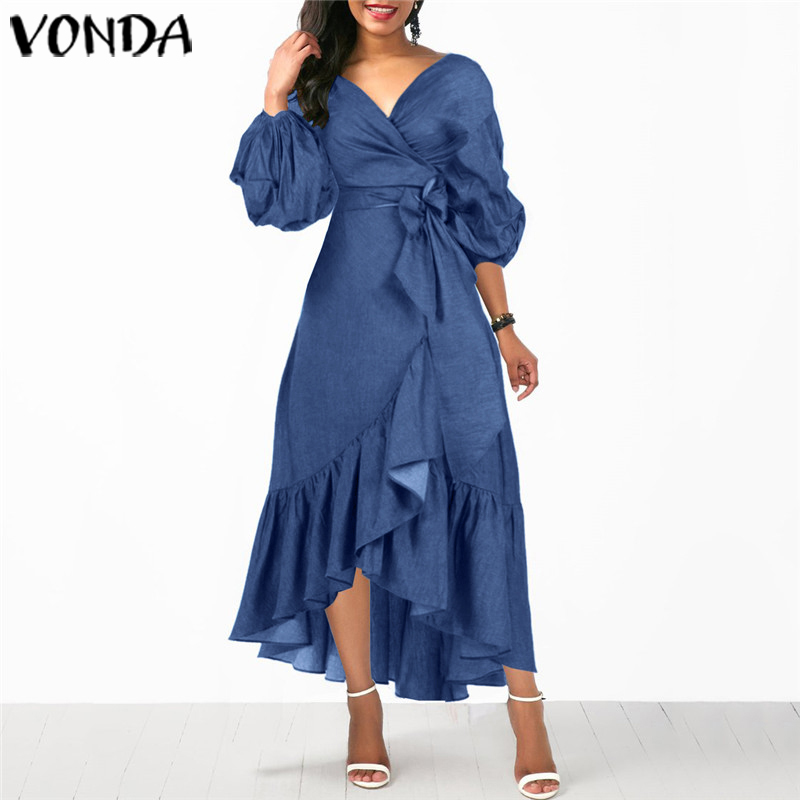 Demin Long Maxi Dress VONDA 2020 Summer Women Sexy 3/4 Lantern Sleeve Dress Office Lady Demin Sundress Plus Size Casual Vestido
