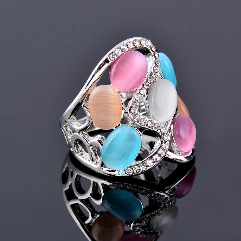 SINLEERY Frauen Luxus Hohl Multicolor Opal Stein Große Ringe Größe 6 7 8 9 10 Rose Gold Farbe Vintage Schmuck JZ509 SSI