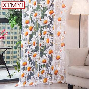 Современные тюлевые шторы для гостиной, шторы для спальни, кухни, желтая Цветочная оконная занавеска, драпировка