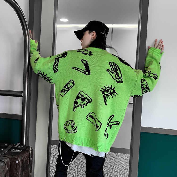Harajuku suéteres de punto hombres Hip Hop Jersey suelto letra impreso suéter Streetwear hombre invierno 2019 ropa abrigo WG597