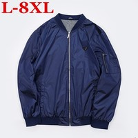 plus size 8XL 7XL Spring Autumn Casual Solid Fashion Slim Bomber Jacket Men Overcoat Baseball Jackets Men's streetwear Jacket