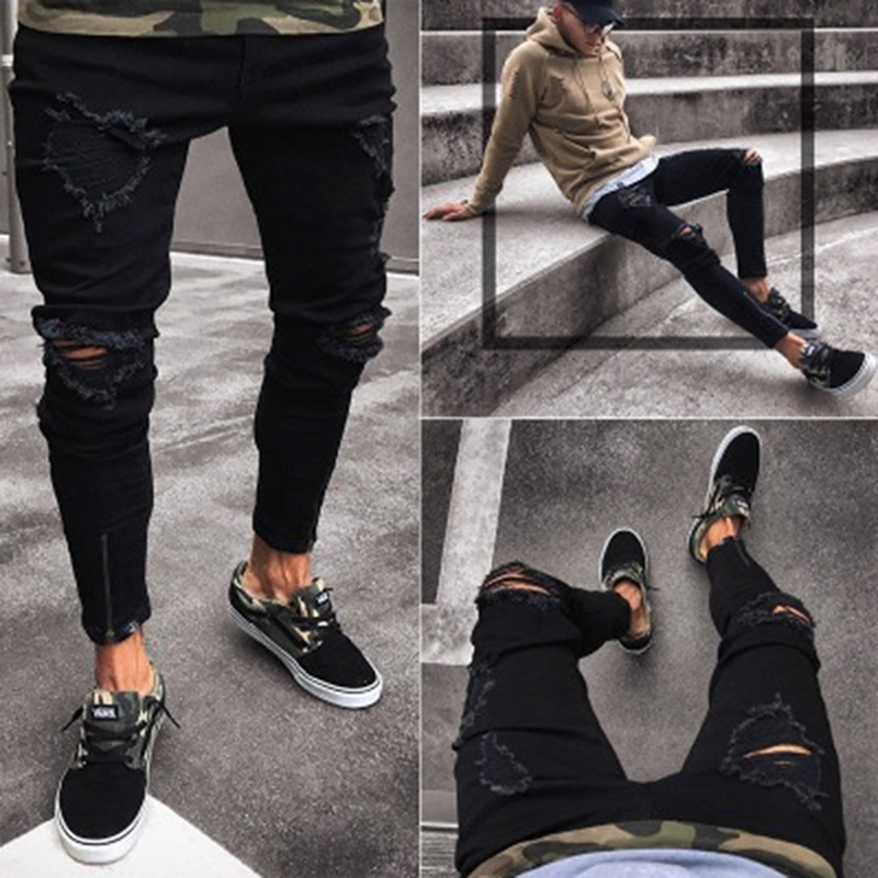 Man Skinny Jeans Knee Ripped Hole Destroyed Distressed Pencil Pants Stretchy Denim Trousers New Shredded Hole Jeans