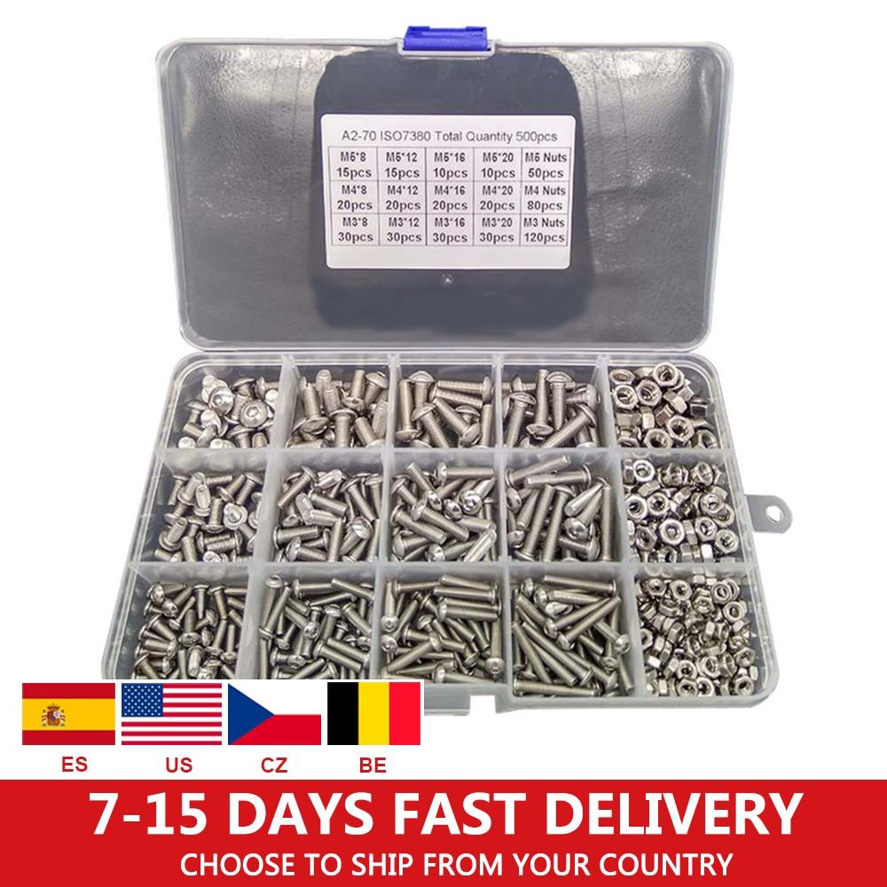 500pcs/lot M3 M4 M5 Stainless Steel 304 Hexagon Socket Head Cap Socket Screw Bicycle Hex Bolt Nut Screws Set Assortment Kit /