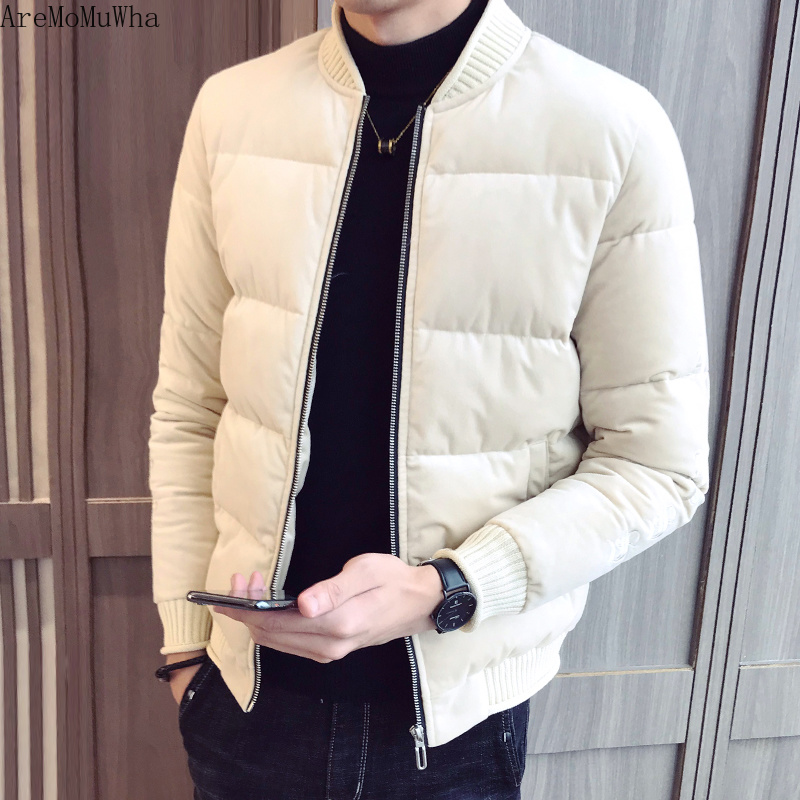 AreMoMuWha New Winter Jacket Men's Embroidered Gold Velvet Cotton Jacket Men's Thick Cotton Coat Handsome Down Cotton Clothing