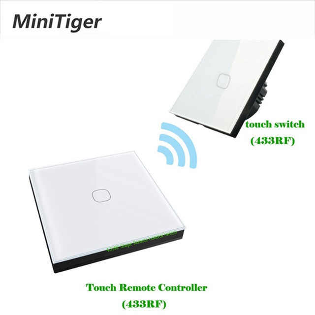 Minitiger 433mhz Wireless Remote Wall Light Touch Switch EU Standard 1 Gang 2 Way Wireless Stick Remote Touch Switch