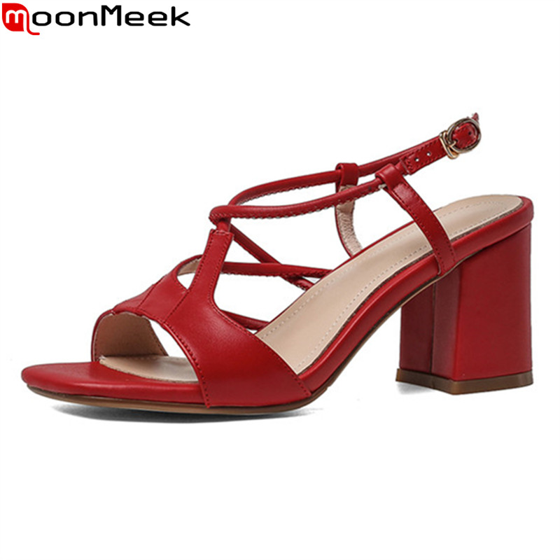 MoonMeek 2020 New arrival high heels sandals genuine leather solid color women pumps thick heels square toe ladies dress shoes