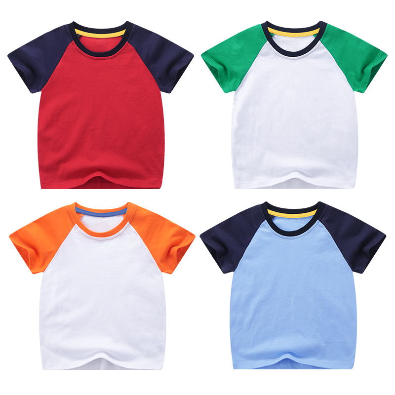VIDMID boys girls short sleeve t-shirts tees kids cotton clothes tops t-shirts boys candy color tees tops children tees 7042 03 3