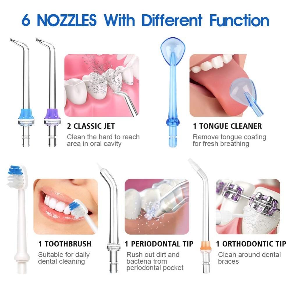 5 Modes Oral Irrigator USB Rechargeable Water Floss Portable Dental Water Flosser Jet 300ml Irrigator Dental Teeth Cleaner+5 Jet