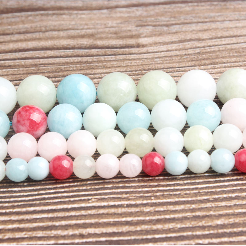 LanLi natural stone Mixed color jades Loose beads 6/8/10/12mm DIY man woman bracelet necklace ear stud jewelry accessories