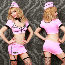 Stewardess Uniform Temptation Passion Underwear Party Anchor Police Costume Halloween Costumes for Women Sexy Lingerie Set(China)