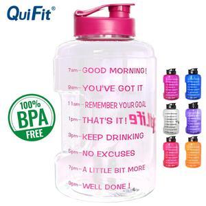 Image 1 - QuiFit Plastic Wide Mouth Big Drinking Water Bottles 2.5L 3.78L Gallon Jug BPA Free Sport Fitness Tourism GYM Travel Unique Item