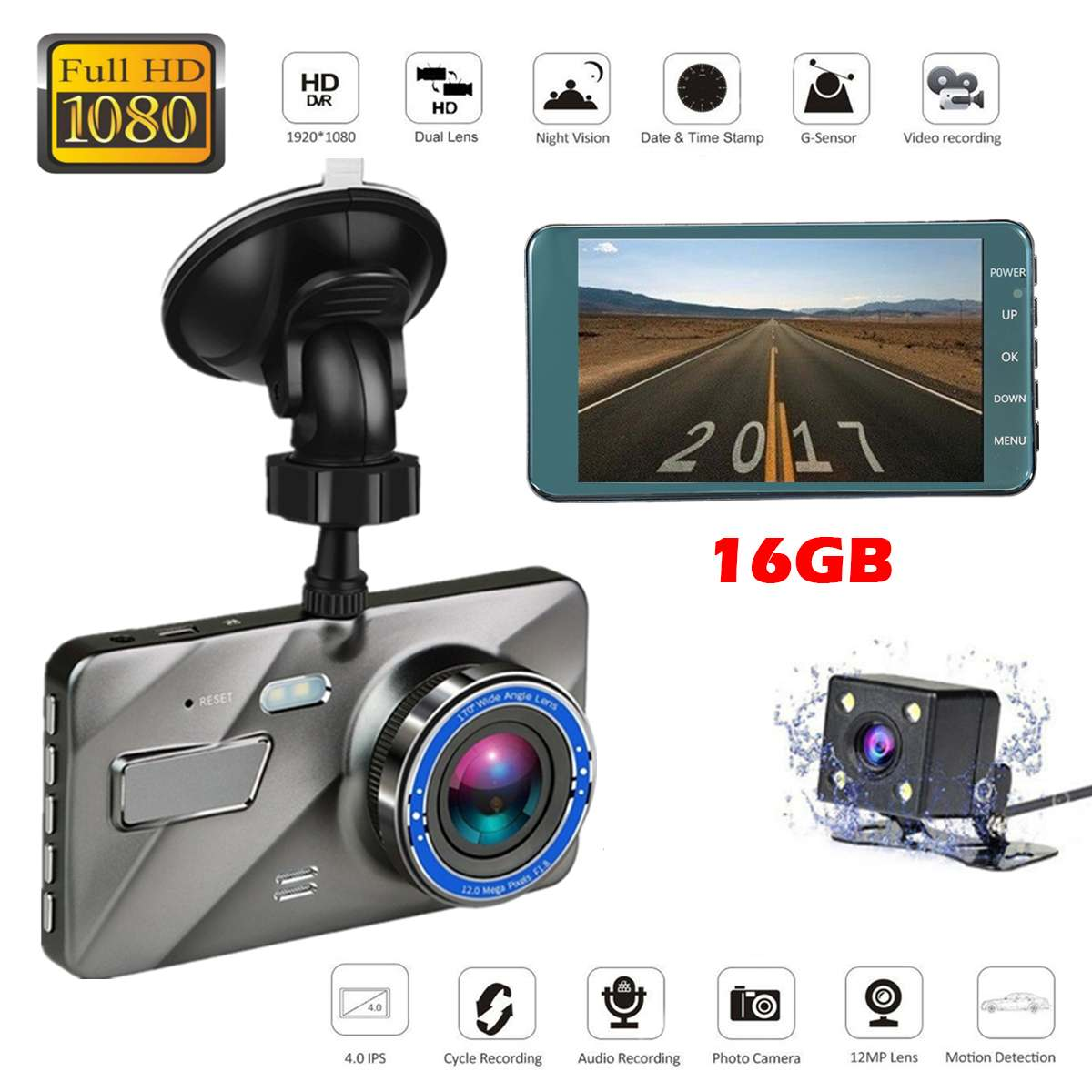 Dash Cam New Dual Lens Car DVR Camera Full HD 1080P
