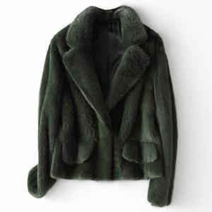 Image 1 - 冬フル毛皮毛皮のコートの女性ファッションショートミンクの毛皮のジャケット豪華な高品質暖かい厚手ナチュラルスリム生き抜く
