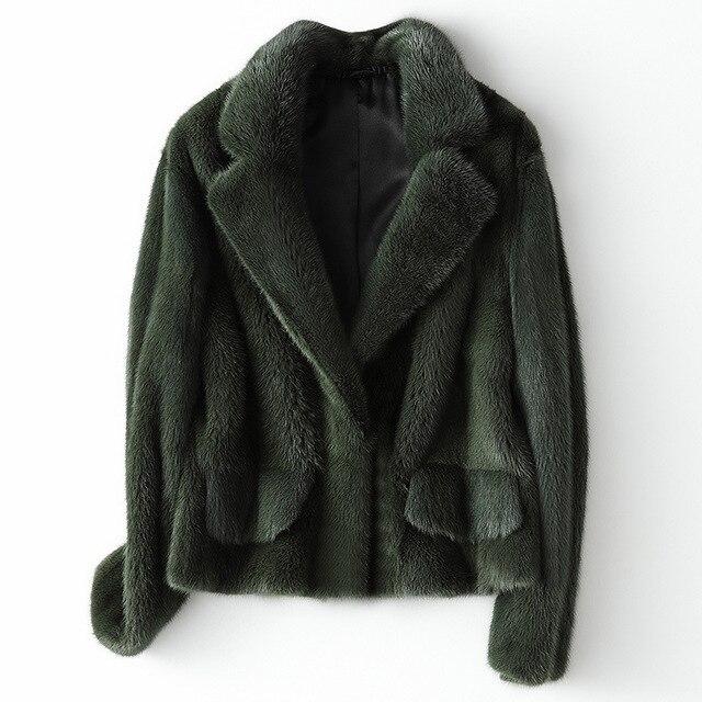 冬フル毛皮毛皮のコートの女性ファッションショートミンクの毛皮のジャケット豪華な高品質暖かい厚手ナチュラルスリム生き抜く