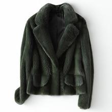 Hiver pleine peau réel vison fourrure manteau femmes mode courte vison fourrure vestes luxueux de haute qualité chaud épais naturel mince Outwear