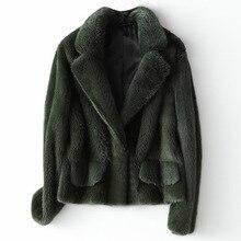 Kış tam Pelt gerçek vizon kürk kadın moda kısa vizon kürk ceket lüks yüksek kalite sıcak kalın doğal ince dış giyim