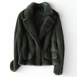 Image 1 - Zimowa skóra prawdziwe futro z norek moda damska krótkie futra z norek luksusowa wysokiej jakości ciepła gruba naturalna wąska bluza