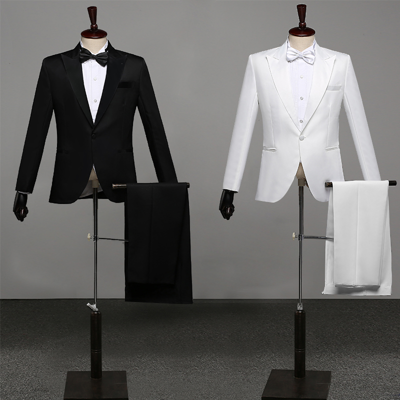 Men Prom Suits Men'S Shawl Lapel White Black Two-Piece Jacket Pants Suit Slim Evening Party Stage Show Performance Wedding Suit